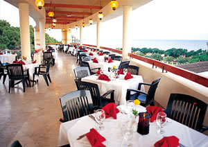 Outdoor restaurant with sea view.